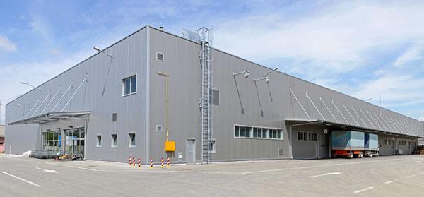 Corner view of large warehouse